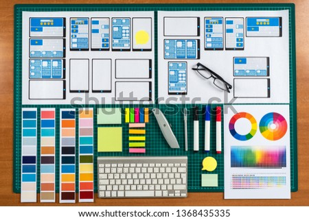 UX UI design. Graphic design for web application layout. Visualization of the project of the smartphone application. The development scheme of mobile applications for the framework. Wireframing.