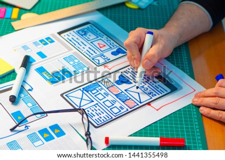 Ux ui design. Graphic designer draws how the mobile application will work. Interface selection. Web designing. The guideline of mobile applications. #1441355498