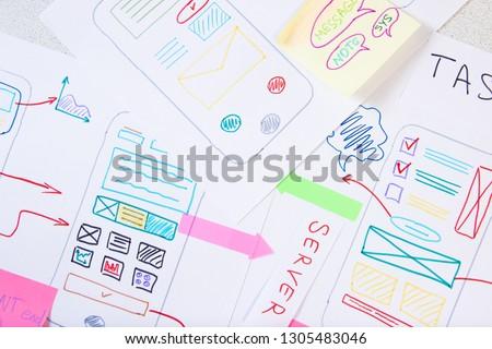 Ux Ui development. App design in paper prototype #1305483046