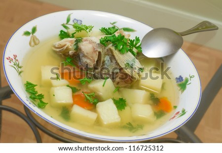 Uxa. Russian traditional fish soup.
