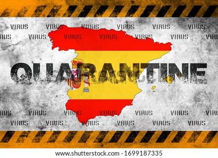 Uyarı bandı ile karantina İspanya-İspanya Haritası. Stok fotoğraf ©