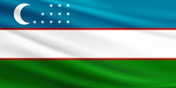 Uzbekistan flag with fabric texture