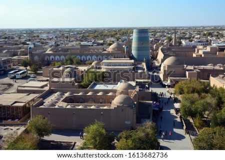 Uzbekistan, view for the ancient town of Khiva from the watchtower