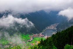 Uzungol lake view (Long lake) top view of the mountains and lake in Trabzon. Popular summer destination for tourists.