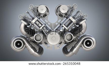 V8 bi turbocharger engine on blue background. High resolution 3D