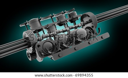 V8 engine 3D isolated on blue 3d render