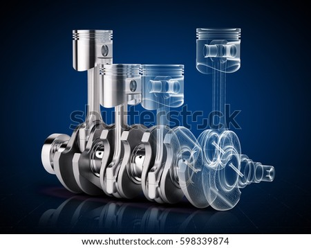 V4 engine pistons and crankshaft on blue background. 3d render