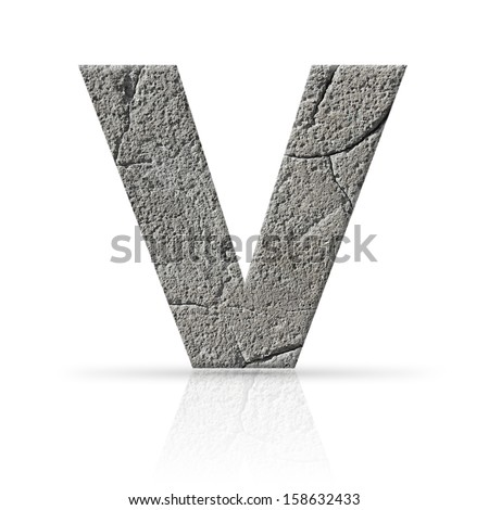 v  letter cracked cement texture Photo stock ©