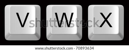 V, W, X white computer keys alphabet