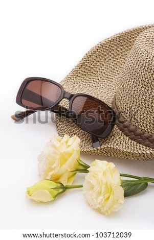 vacation accessories on white background