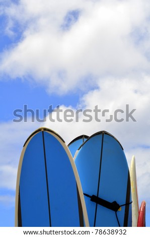 Vacation And Sport Image Of Surfboards With Copy Space