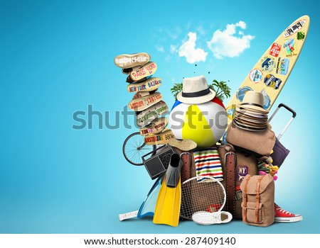 Shutterstock Vacation and travel, a huge pile of things for the holiday