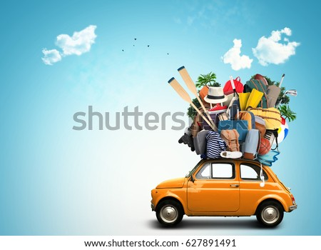 Vacation and travel, a huge pile of things for the holiday #627891491