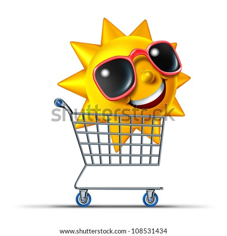 Vacation business tourism concept with a shopping cart and a fun summer sun character with sunglasses traveling to a hot destination for relaxation and leisure rest as a symbol of internet travel.
