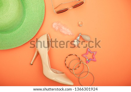 Vacation concept. Background vacation tools.  #1366301924