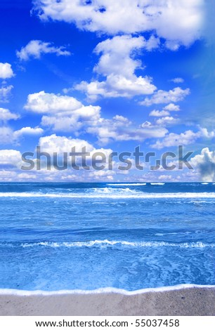 Vacation conceptual image. Picture of tropical sea and sky.