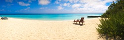 Vacation holiday recreation on beach  concept background wallpaper. Beach lounger on sand beach. Web banner tropical beach panorama background.