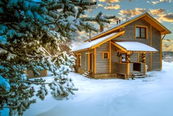 Vacation home. The cottage is covered in snow. Snowdrifts near the cottage. House away from the city. Concept - Christmas holiday away from the city. Northern nature. Wooden cottage on a winter day