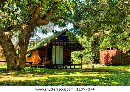 Vacation house in camp's park. Shot in Sodwana Bay campsite, KwaZulu-Natal province, Southern Mozambique area, South Africa.