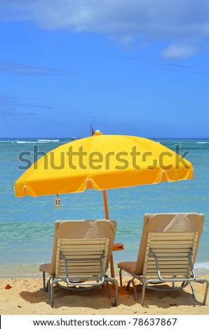 Vacation Image Of Bright Yellow Beach Umbrella And Loungers On Tropical Beach With Copy Space