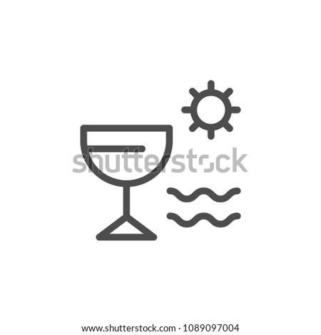 Vacation line icon isolated on white