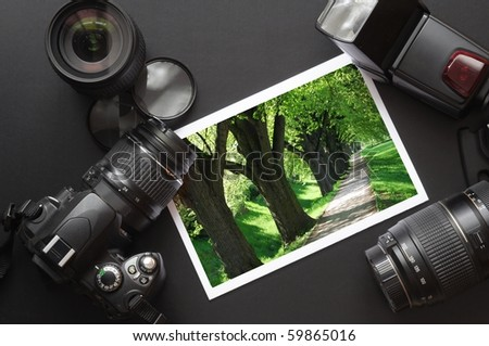 vacation or travel image concept with camera and lens