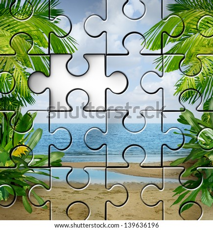 Vacation planning and finding travel tips as an incomplete jigsaw puzzle with a tropical summer beach scene for a fun family holiday in the sun or a retirement relaxation plan.