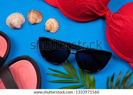 Vacation preparation, vacation planning concept. Sunglasses, seashells and swimming suit on vivid blue background