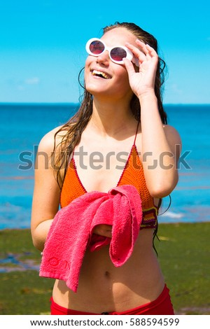 Vacation Relaxing Sunny Beach  - Shutterstock ID 588594599