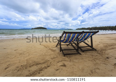 Vacation Sunset Concept, Two Beach Chairs