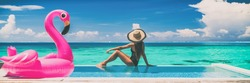 Vacation swimming pool banner luxury travel background woman relaxing by infinity overwater bungalow with pink flamingo float fun holiday concept panorama.