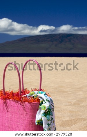 Vacation Time pink beach bag sitting on a beach  against a blue sky with with clouds