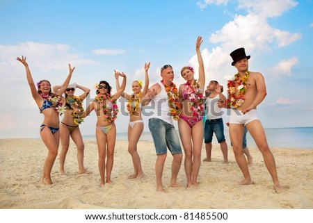 Vacationers have fun at the beach
