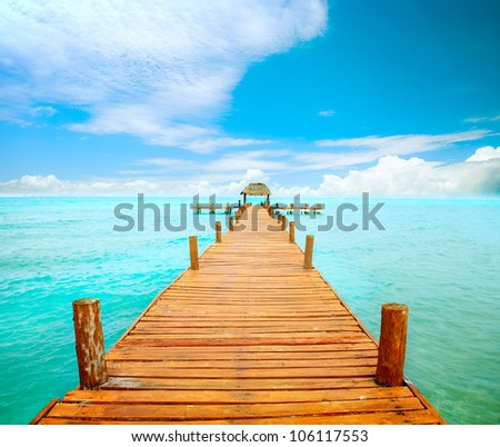Vacations And Tourism Concept. Tropic Paradise. Jetty on Isla Mujeres, Mexico,Cancun