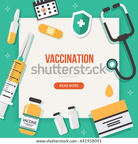 Vaccination concept poster with text place. Medical illustration.