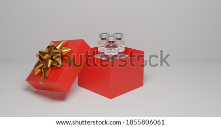 Vaccine bottle in a gift box, Coronavirus vaccine it use for prevention. Covid-19 corona virus vaccination with vaccine bottle injection tool for covid19 immunization treatment. 3d render