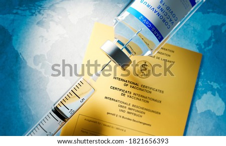 Vaccine concept with syringe, vial and yellow international certificate of vaccination - 3D illustration