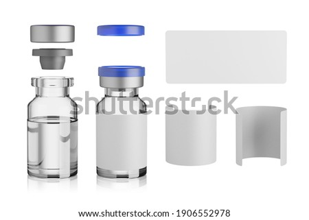 Vaccine glass vial mockup isolated on white background, 3d rendering. Foto stock ©