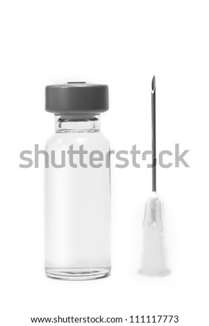 Vaccine vial with syringe needle