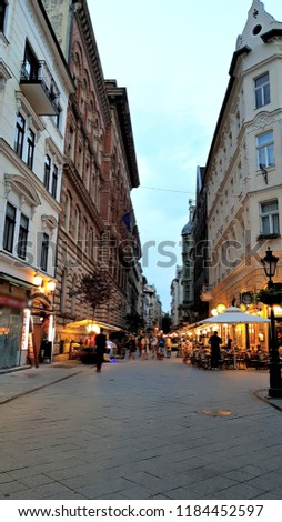Vaci utca Budapest Hungary tourist's street at evening Stock fotó ©