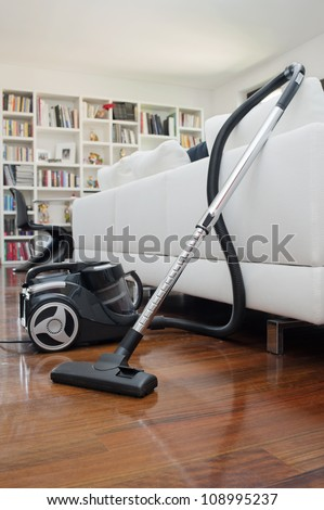 vacuum cleaner inside a room