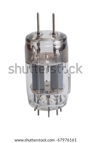 Vacuum electronic radio tube isolated on white background