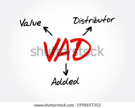VAD - Value Added Distributor acronym, business concept background Stock fotó ©