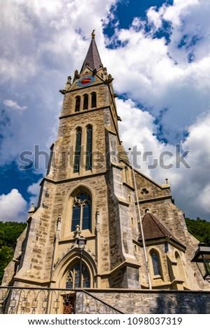 Vaduz cathedral of Saint Florin in Liechtenstein
