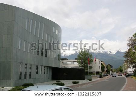 Vaduz, Liechtenstein - May 06 2009: Modern building in Vaduz downtown in Liechtenstein kingdom, tiny country in Europe
