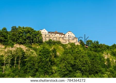 Vaduz, Liechtenstein - May 28, 2016: The Vaduz Castle in Liechtenstein. Principality of Liechtenstein is one of the world's smallest countries. It is located between Switzerland and Austria.
