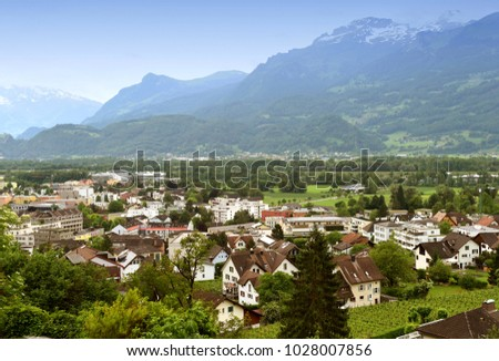 Vaduz, Liechtenstein top view. Vaduz is the capital of Liechtenstein and also the seat of the national parliament.