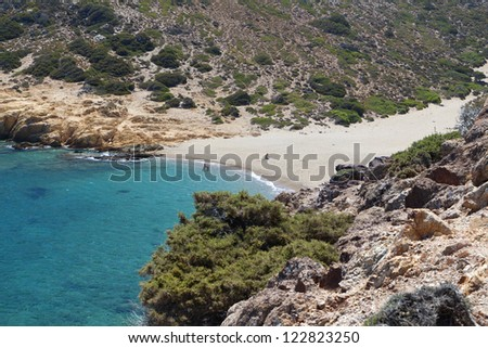 Vai bay and beach at Crete island in Greece