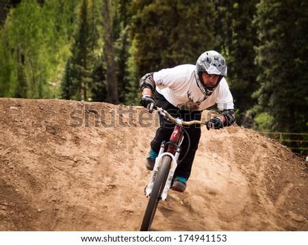 Vail, Colorado- June 1, 2012: Slopestyle Biking At 2012 Summer Teva Mountain Games. Vail, Colorado.