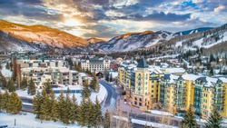 Vail, Colorado, USA Drone Village Skyline Aerial.